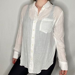 Free People Crinkle Button Down Long Sleeve Blouse